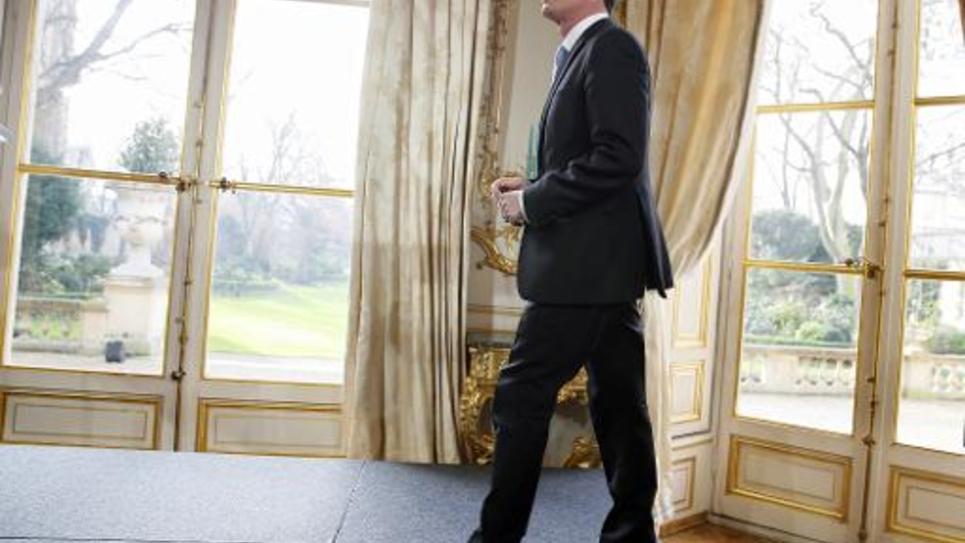 La premier ministre Manuel Valls, avant de présenter ses voeux à la presse, le 20 janvier 2015 à Paris