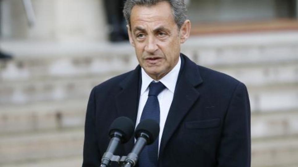 Nicolas Sarkozy à l'isssue d'une rencontre avec François Hollande à l'Elysée le 8 janvier 2015 à Paris