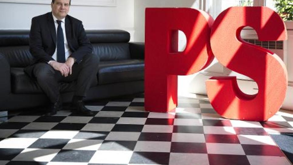 Le Premier secrétaire du PS Jean-Christophe Cambadelis le 16 mai 2014 au siège du parti à Paris