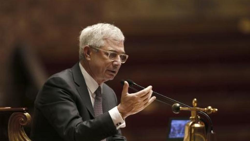 Le président de l'Assemblée nationale, Claude Bartolone, sur le perchoir, le 28 novembre 2014