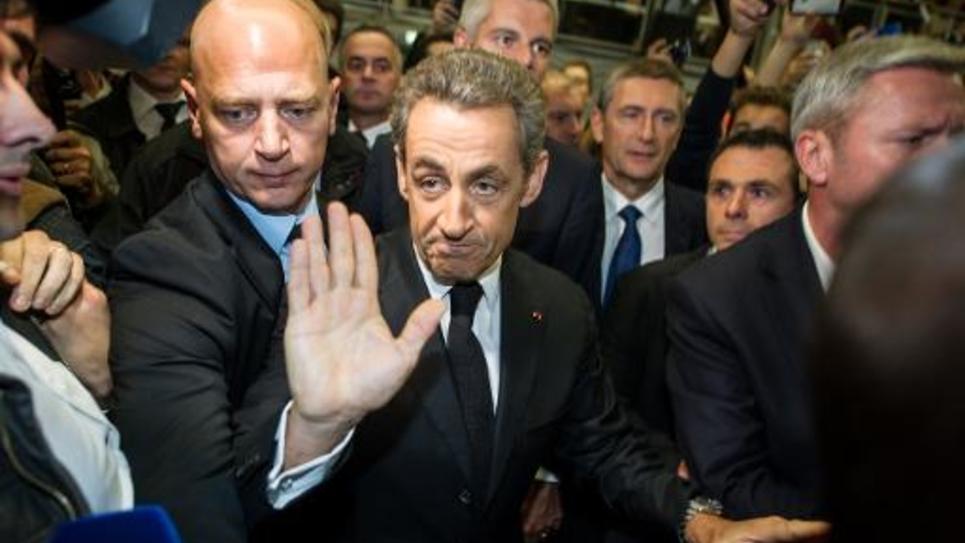 L'ancien président de la République française, Nicolas Sarkozy, lors de son arrivée à un meeting de campagne pour la présidence de l'UMP le 25 septembre 2014 à Lambersart