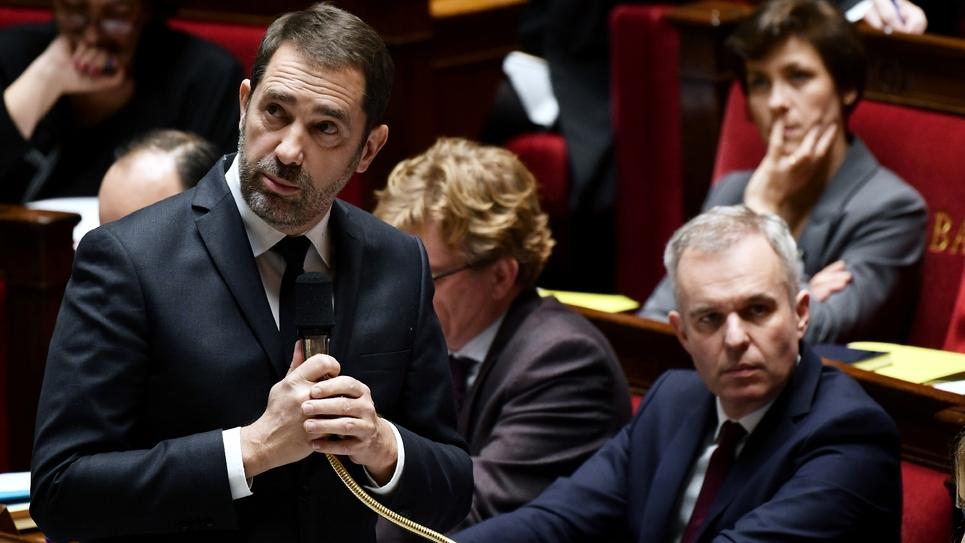 Le ministre de l'Intérieur Christophe Castaner à l'Assemblée nationale à Paris, le 29 janvier 2019
