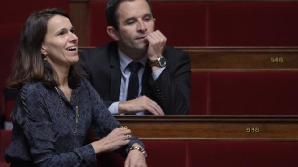 Les députés socialistes français Aurélie Filippetti et Benoît Hamon sur les bancs de l'Assemblée nationale à Paris, le 4 novembre 2014