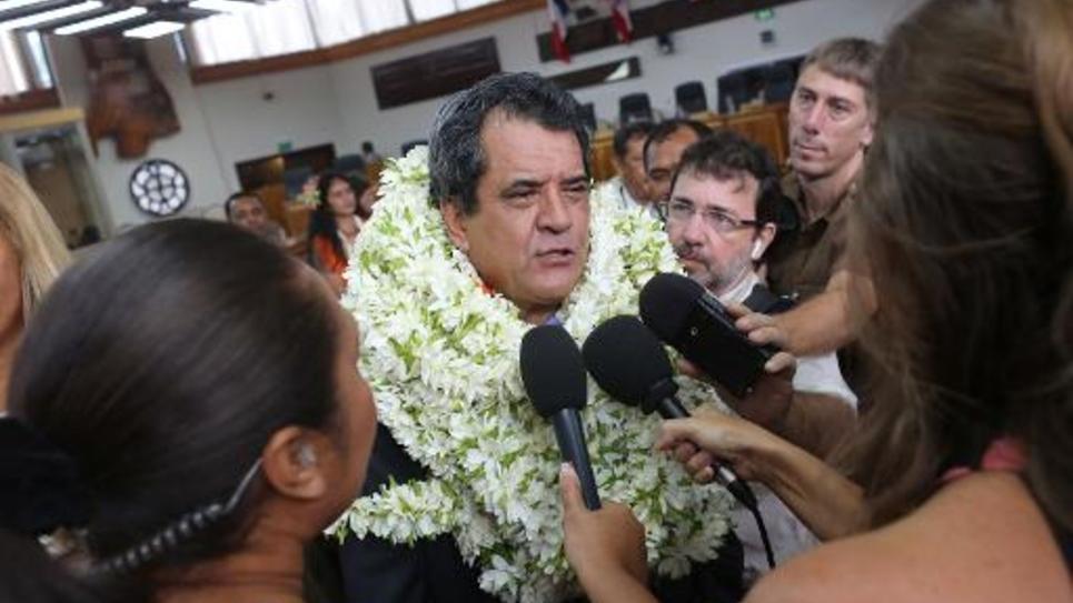 Edouard Fritch, élu président de Polynésie française, le 12 septembre 2014 à Papeete