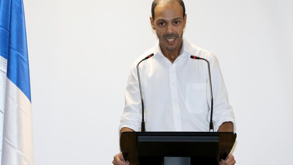 Le président de l'UDMF Nagib Azergui, lors du lancement de sa campagne électorale pour les municipales, le 1er décembre 2019 à Clichy-la-Garenne
