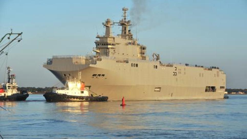 Un navire de guerre Mistral commandé par la Russie à Saint-Nazaire, le 5 mars 2014