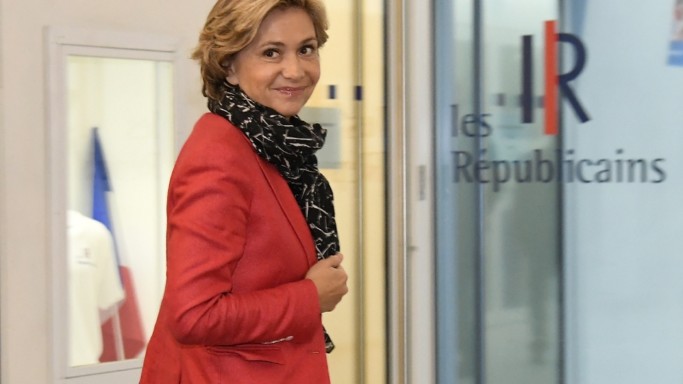 Valérie Pécresse arrive au siège des Républicains à Paris le 29 novembre 2016 au lendemain de la victoire de François Fillon à la primaire de la droite et du centre