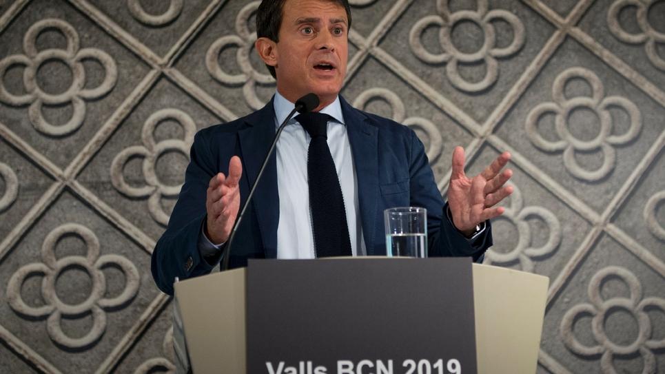 Manuel Valls lors du conférence de presse à Barcelone, le 26 septembre 2018