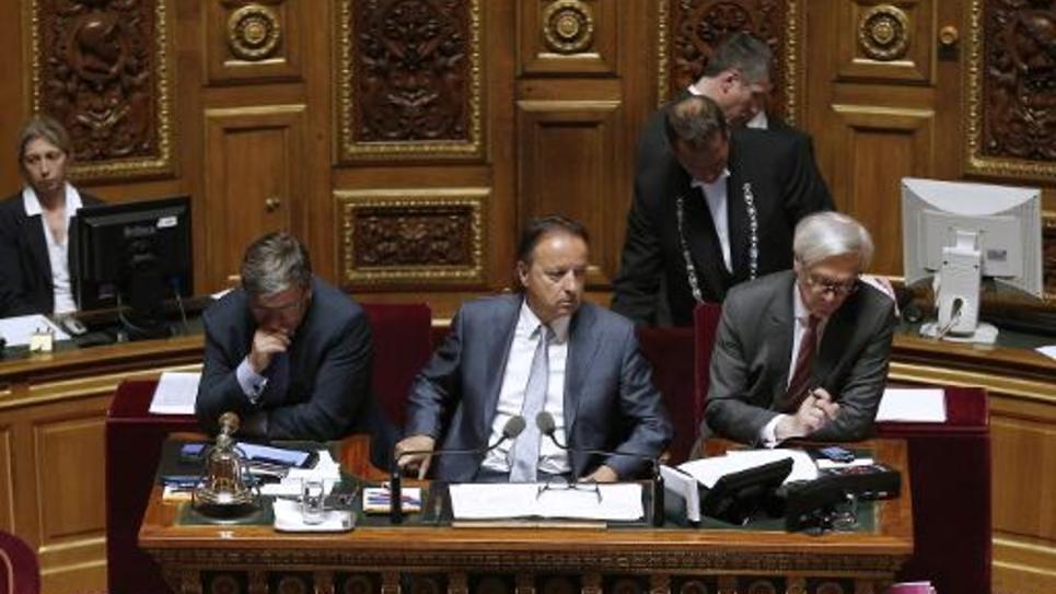 Le président du Sénat français Jean-Pierre Bel (c) préside la Haute Assemblée, le 9 avril 2014, à Paris