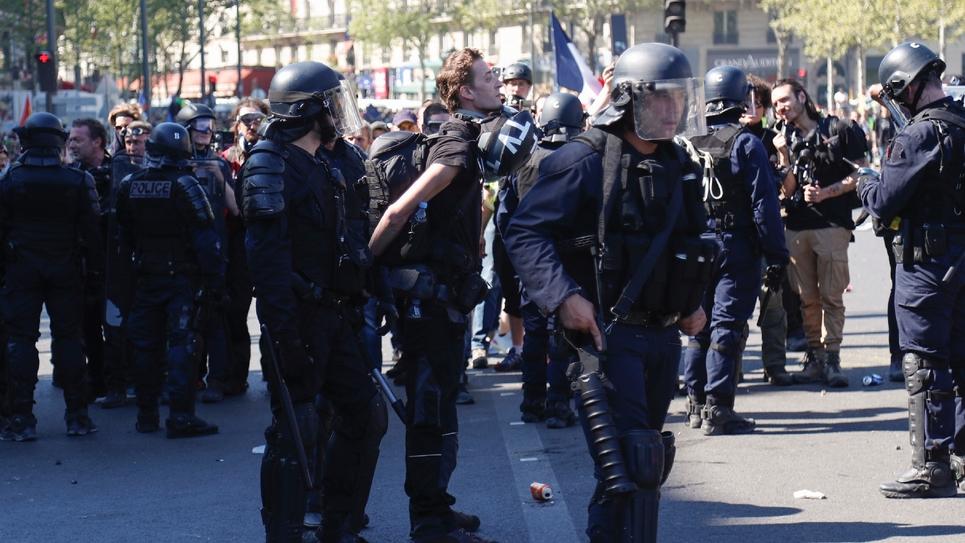 Le reporter indépendant Gaspard Glanz lors de son arrestation le 20 avril 2019 à Paris