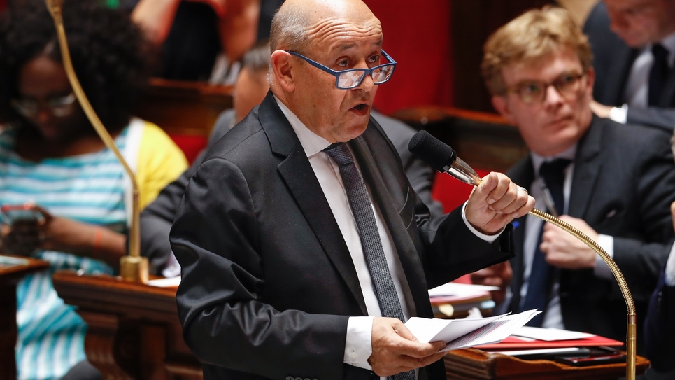 Jean-Yves Le Drian, ministre des Affaires étrangères, à l'Assemblée nationale à Paris, le 29 mai 2019