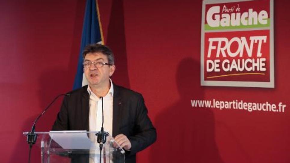 Jean-Luc Mélenchon, leader du Parti de gauche (PG), à Paris lors d'une conférence de presse le 8 janvier 2015