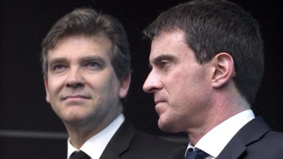 Arnaud Montebourg et Manuel Valls le 10 avril 2014 à Genevilliers