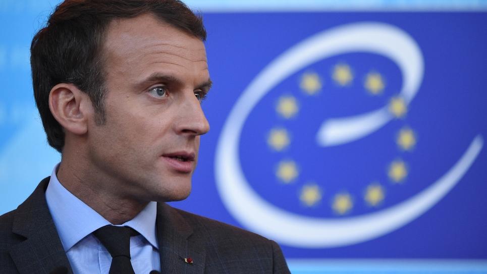 Emmanuel Macron lors d'un point presse au Conseil de l'Europe à Strasbourg, le 31 octobre 2017