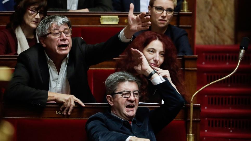 Jean-Luc Mélenchon et d'autres députés de La France Insoumise, à l'Assemblée nationale le 13 novembre 2018