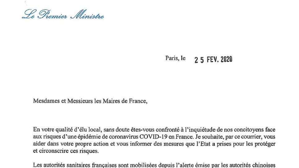 Lettre d'Edouard Philippe aux maires sur le coronavirus