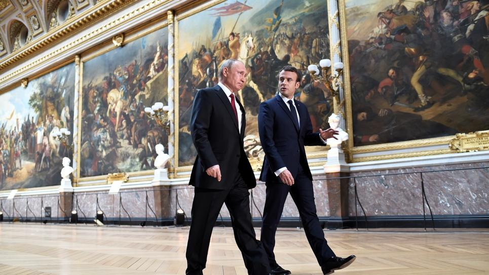 Emmanuel Macron reçoit Vladimir Poutine au château de Versailles en Mai 2017