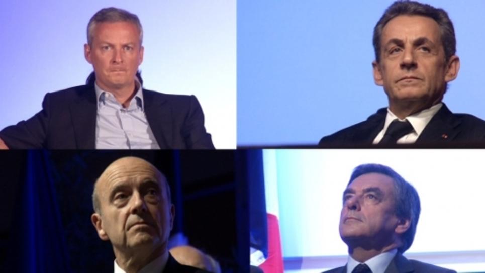 Alain Juppé, Bruno Le Maire, Nicolas Sarkozy, François Fillon, candidats à la primaire de la droite et du centre