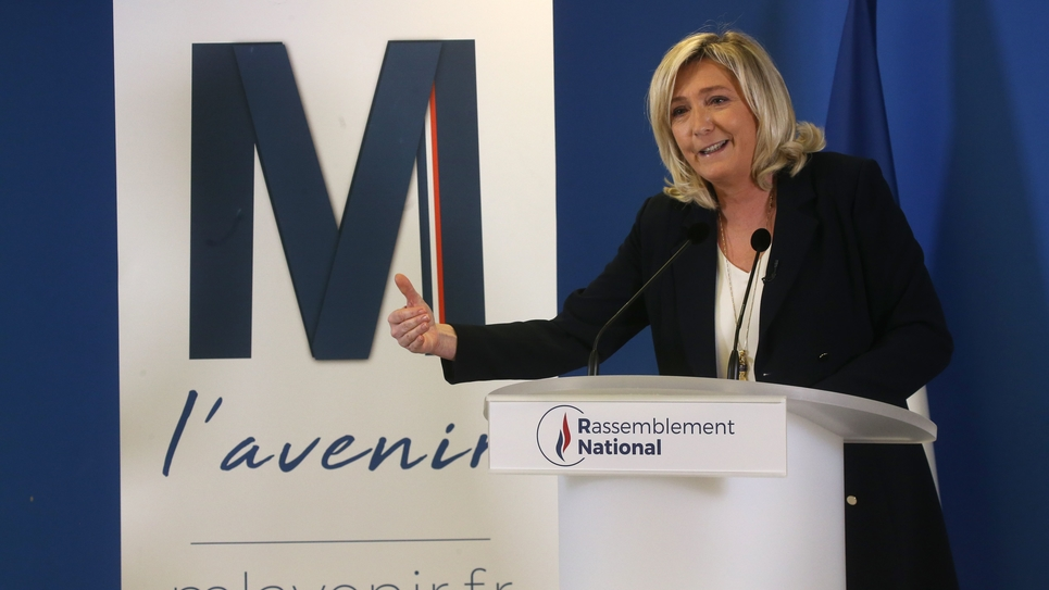 Nanterre: Marine Le Pen Marine presents her wishes to the press
