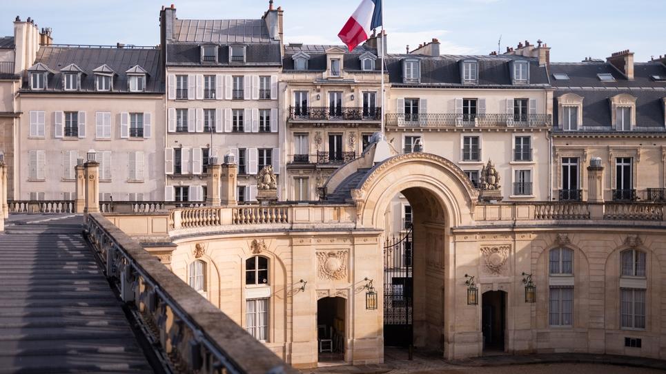 Le president de la Republqiue Francaise lors du Sommet du G5 Sahel en visio conference depuis le palais de l'Elysee a Paris