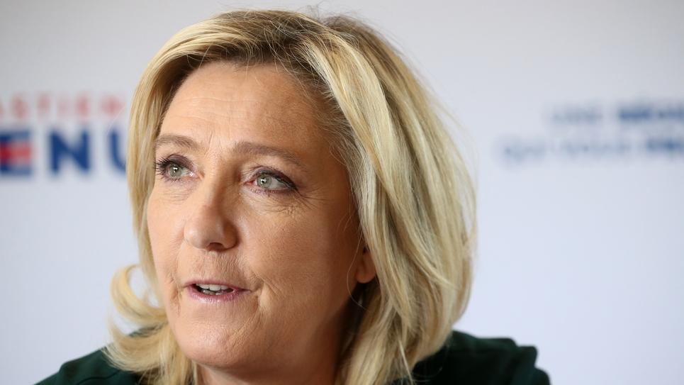 Press conference of Marine Le Pen and Sebastien Chenu in Salesches