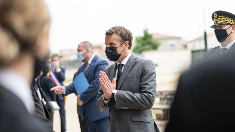 Deplacement d'Emmanuel Macron dans la Drome
