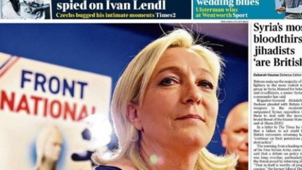 Marine Le Pen à la une des journaux anglais