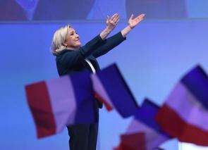 La présidente du Rassemblement national (RN), Marine Le Pen, le 13 janvier 2019 en meeting pour les européennes à Paris