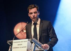 Stéphane Sieczkowski-Samier, maire de Hesdin, lors de la cérémonie des voeux, le 18 janvier 2019 dans le Pas-de-Calais