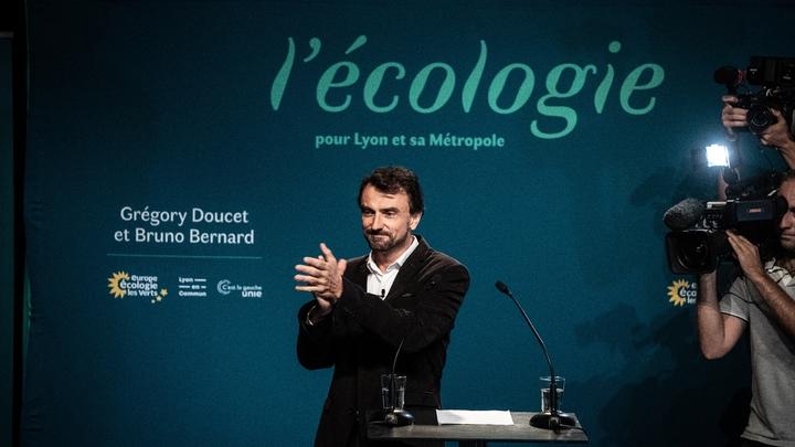 L'écologiste Grégory Doucet au soir de sa victoire à la mairie de Lyon, le 28 juin 2020