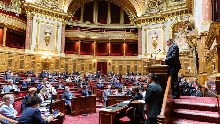 Paris: Castex delivers a speech on stage as part of the government declaration at the Senate