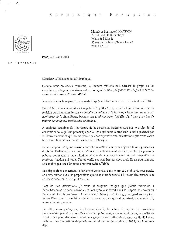Lettre de Gérard Larcher à Emmanuel Macron - page 1