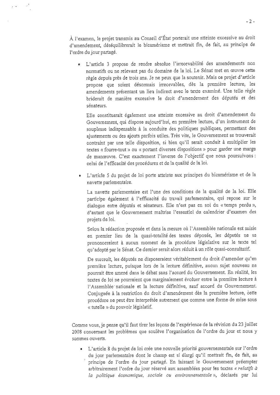 Lettre de Gérard Larcher à Emmanuel Macron - page 2