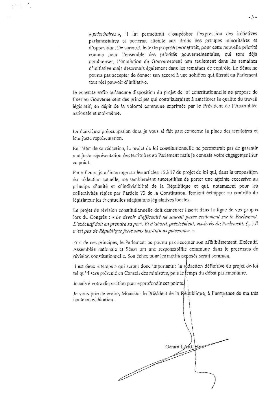 Lettre de Gérard Larcher à Emmanuel Macron - page 3