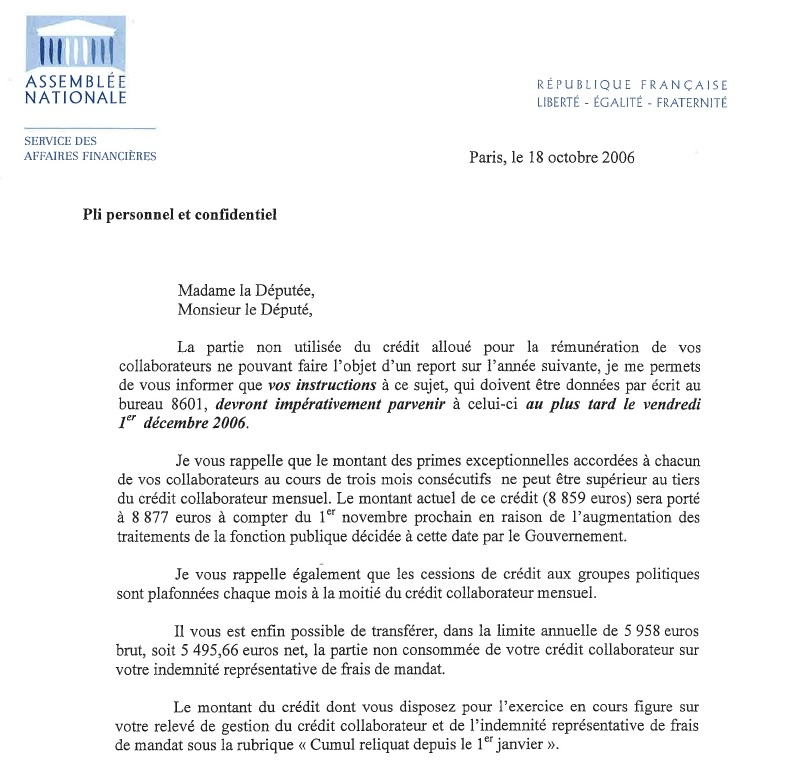 Courrier crédit collaborateurs