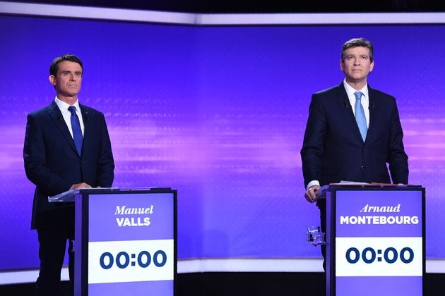 Manuel Valls et Arnaud Montebourg lors du dernier débat télévisé le 19 janvier 2017 à Paris
