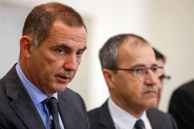 Gilles Simeoni et Jean-Guy Talamoni le 3 avril 2019 à Ajaccio