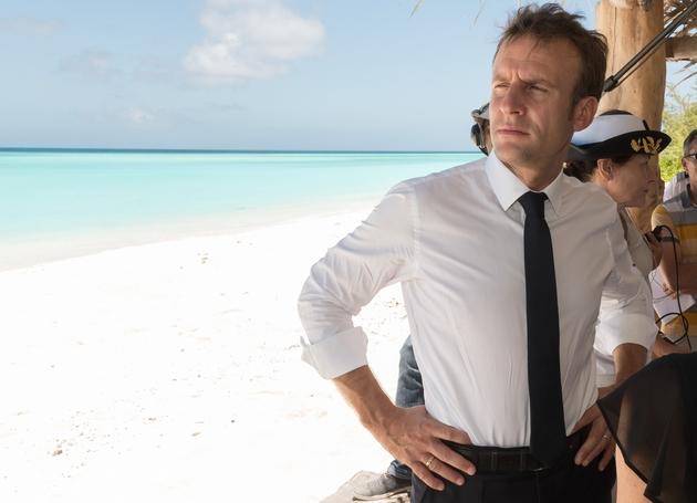 Emmanuel Macron à la Grande Glorieuse dans l'archipel des Îles Eparses au nord du canal du Mozambique, le 23 octobre 2019