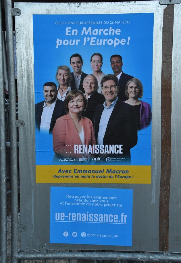L'affiche électorale de La République en marche (LREM) pour les élections européennes, le 15 mai 2019 à Montpellier