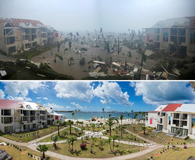 Hôtel Mercure à Marigot sur l'île de Saint-Martin, après le passage d'Irma le 6 septembre 2017 (en haut) et le 28 février 2018 (en bas) pendant la recontruction