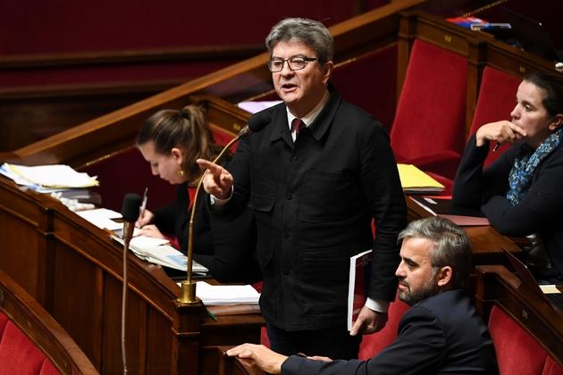 Le chef de file des Insoumis Jean-Luc Mélenchon s'exprime à l'Assemblée nationale, le 20 décembre 2018