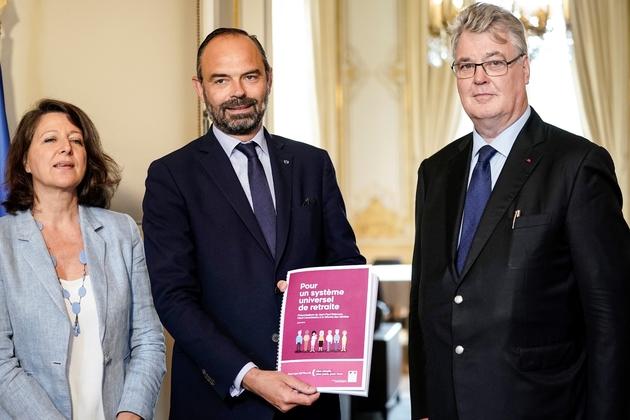 Agnès Buzyn, Edouard Philippe et Jean-Paul Delevoye le 18 juillet 2019