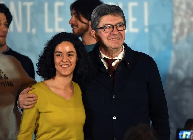 Manon Aubry, tête de liste de la France Insoumise (LFI) aux élections européennes, et Jean-Luc Mélenchon, président de la France Insoumise, le 5 avril 2019 à Nîmes