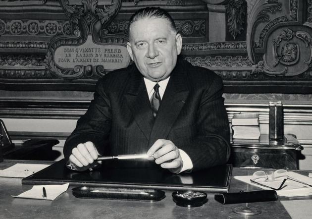 Alain Poher, à l'Élysée en mai 1969, pendant l'intérim de la présidence de la République
