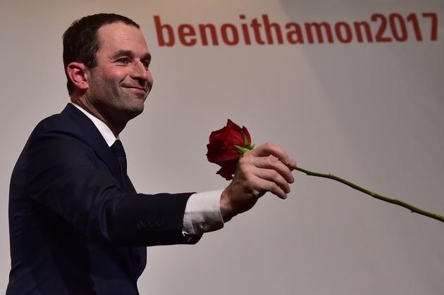 Benoît Hamon au soir de sa victoire au second tour de la primaire le 29 janvier 2017 à Paris