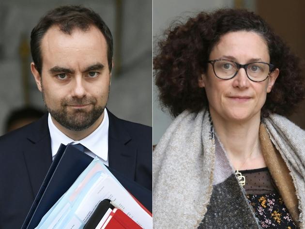 Montage photos du 14 janvier 2019 de la ministre de la Transition écologique Emmanuelle Wargon (d) et du ministre des Collectivités territoriales Sébastien Lecornu