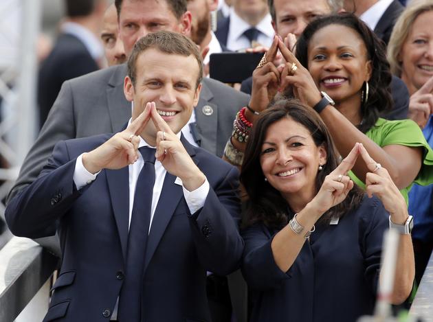 Anne Hidalgo et Emmanuel Macron JO Paris