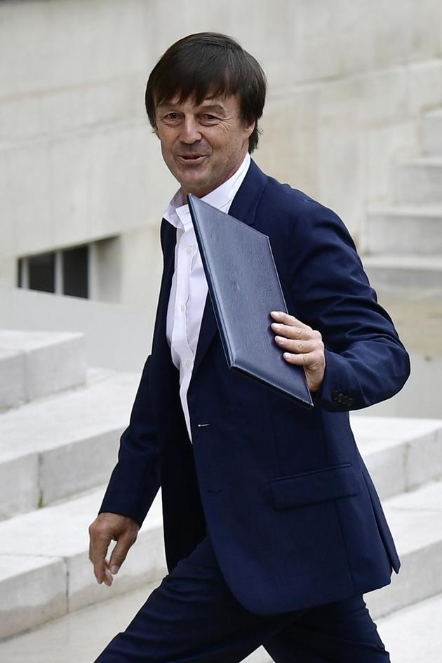 Le ministre de la Transition Ecologique et Sociale Nicolas Hulot, arrivant à l'Elysée pour participer au premier conseil des ministres du nouveau gouvernement, le 18 mai 2017