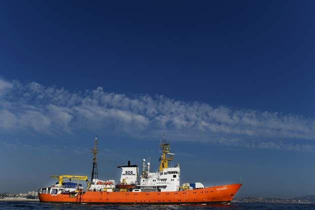 Le navire humanitaire Aquarius le 1er août 2018 à Marseille