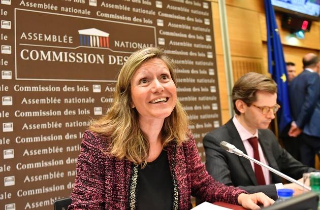 Les deux corapporteurs de la commission d'enquête de l'Assemblée nationale sur l'affaire Benalla Yaël Braun-Pivet (LREM) et Guillaume Larrivé (LR) le 25 juillet 2018 à Pairs